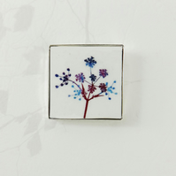 Colourful Wildflower Square Brooch