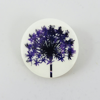 Round, wooden, delicate flower, allium seedhead brooch