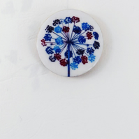 Round, wooden, delicate flower, seedhead brooch