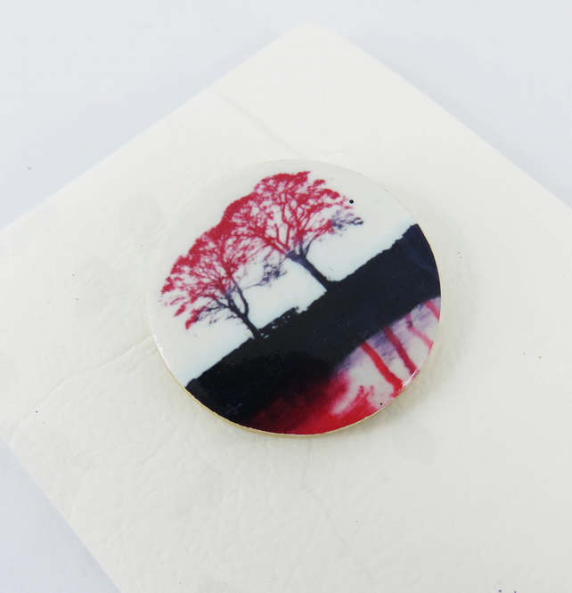 Two Red Trees Brooch