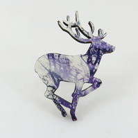 Running Deer Brooch with Purple Tree Branch Decoration