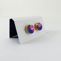 Colourful Wooden Stud Earrings