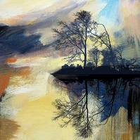 Tree and lake art print