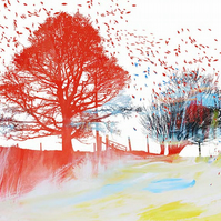 Colourful Trees with Autumn Leaves Signed Print