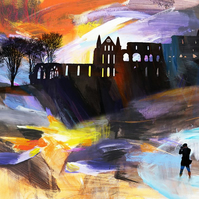 Dramatic Landscape with Whitby Abbey, Signed Print