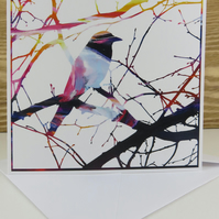 Artistic Bird in a Tree Greeting Card