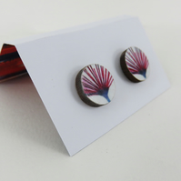 Wooden Stud Earrings with Flower Detail