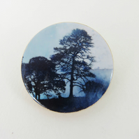 Two Trees in the Mist Brooch