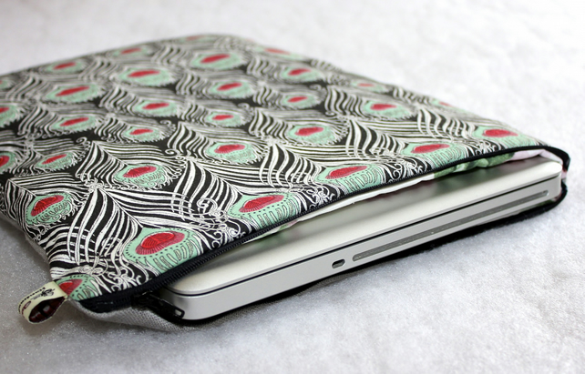 "Liberty Peacock feather and linen Macbook Pro 13"" case or cover"