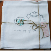 Machine embroidered retro teapot and cup cotton tea towel