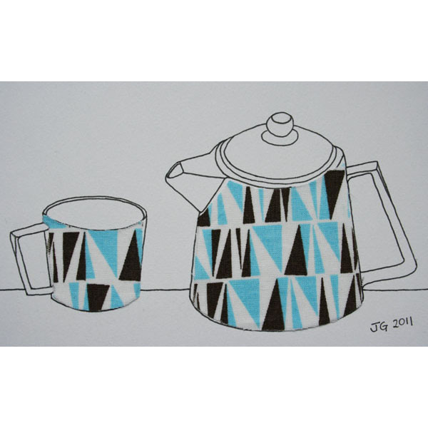Retro teapot and cup drawing with fabric