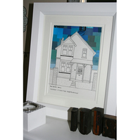 Personalised Hand Drawn House Picture with Choice of Sky Backgrounds