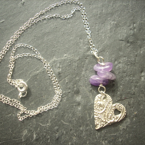 Heart necklace with amethyst