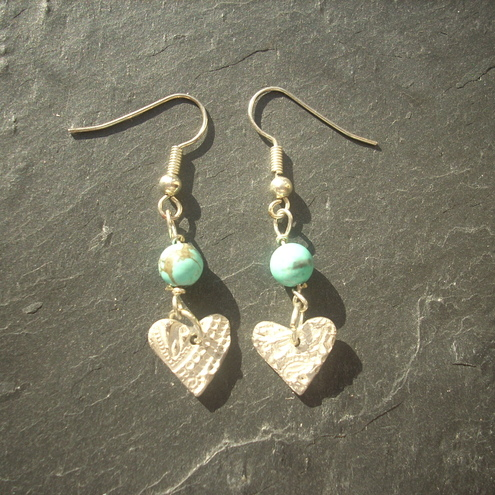 Heart earrings with turquoise