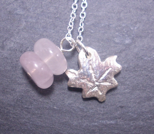Silver maple leaf and rose quartz charm necklace