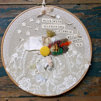 Textile wall art,Gift, embroidery hoop art, Roald Dahl quote, wall decor