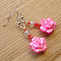 Bright Pink Rose FIMO Polymer Clay Earrings Jewellery