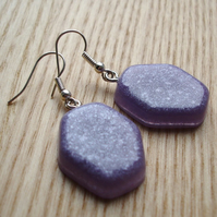 Purple Shimmer Resin Earrings