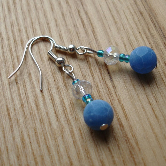 Sparkly Blue Dragon Vein Agate Bead Earrings