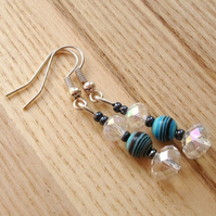 Crystal and Striped Turquoise Gemstone Bead Earrings