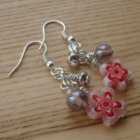Red Flower Glass Bead Cluster Earrings