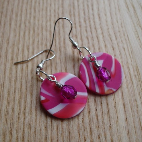 Pink Swirl FIMO Disc Earrings