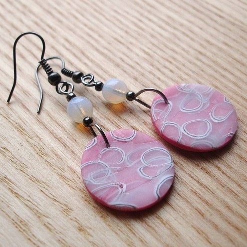 Pink Millefiori Disc Earrings