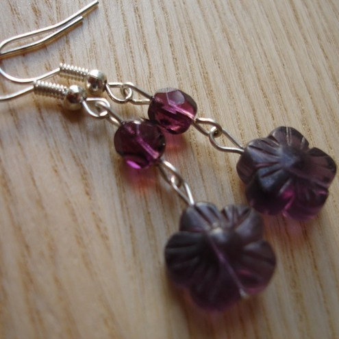 Purple Fluorite Flower Drop Earrings