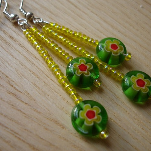 Spring Flower Duo-Drop Earrings