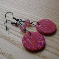 Orange Purple Marble Disc Earrings