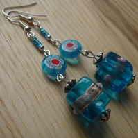 Blue Lampwork and Millefiori Flower Earrings