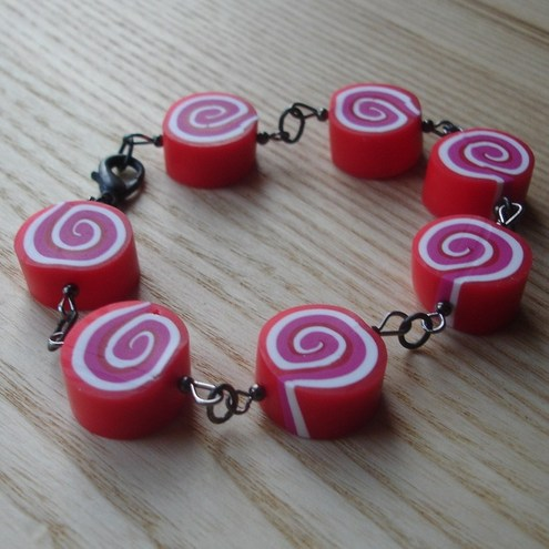 Raspberry Candy Roulade FIMO Bracelet