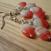 Red and White Cluster Earrings