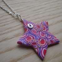 Pendant with Polymer Clay FIMO Millefiori Star