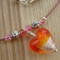 Orange Lampwork Glass Heart Necklace
