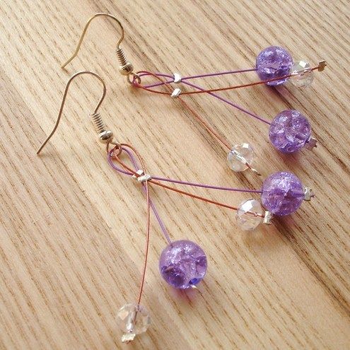 Crystal and Crackle Glass Cherry Drop Earrings