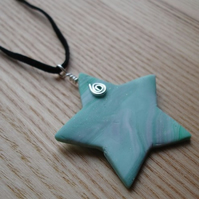 Minty Marble FIMO Star Pendant