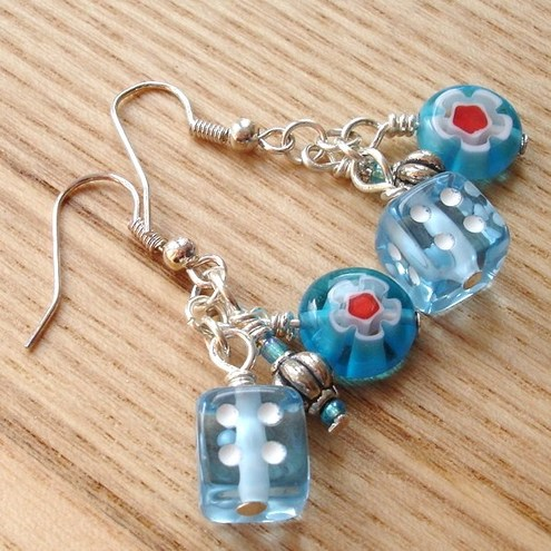 Blue Dice Bead Cluster Earrings