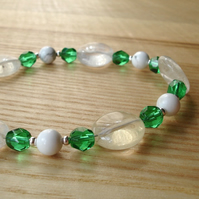 Green Facetted Glass Bead Bracelet