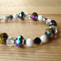 Black and White Sparkle Bracelet with Glass and Howlite Beads