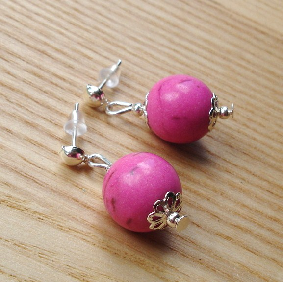 Pink Howlite Stud Earrings