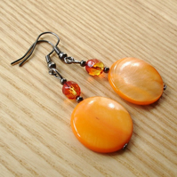 Juicy Orange Shell Disc Earrings