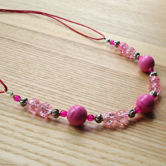 Pink Howlite and Crackle Glass Bead Necklace Jewellery