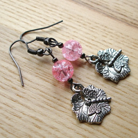 Tibetan Silver Dragonfly and Glass Bead Earrings