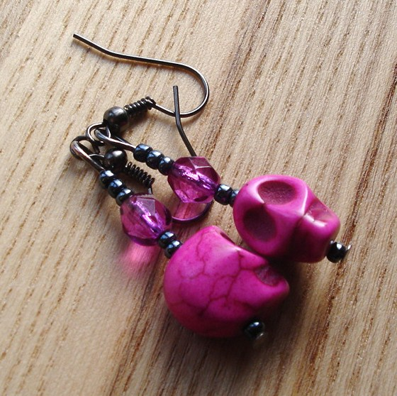 Howlite Skull Earrings in Pink