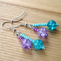 Crackle Glass Double Drop Earrings