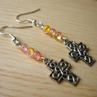Cross Charm Earrings with Pink and Peach Beads