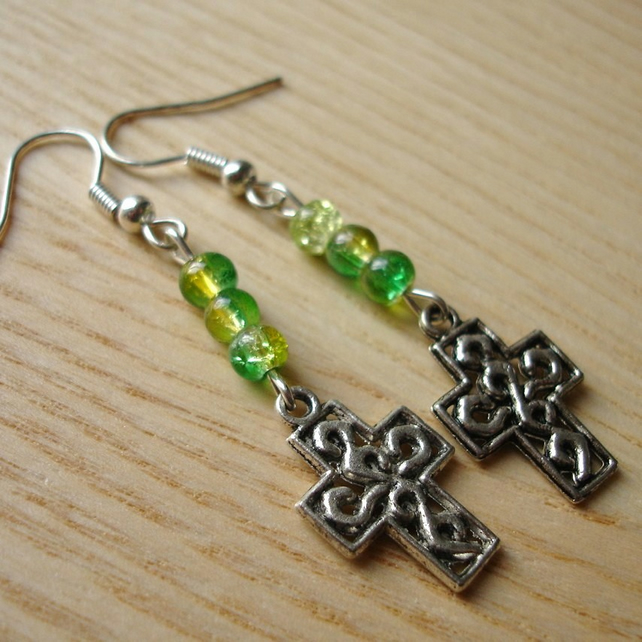 Cross Charm Earrings with Green Glass Beads