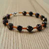 Copper and Orange Indian Glass and Seed Bead Bangle