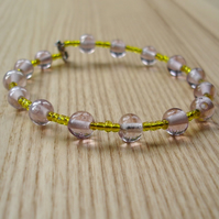 Yellow and Pale Pink Indian Glass and Seed Bead Bangle